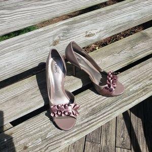 Carlos taupe ruffle sandal w/platform
